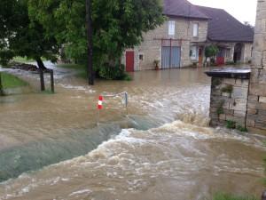 Overstroming na afloop van de plensbui