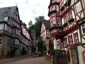 Vele vakwerkhuizen in het fraaie stadje Miltenberg