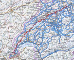 Overzicht van de Jura sudfussroute